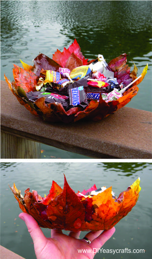 Easy DIY Mod Podge leaf basket. www.DIYeasycrafts.com