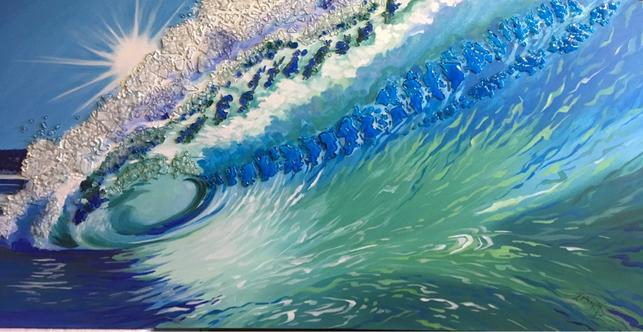 ocean wave, custom acrylic painting, calgary artist, twist designs