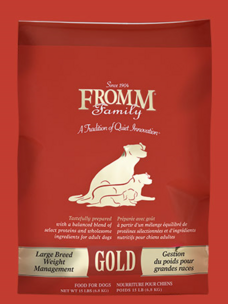 FROMM Weight Management Gold for Large Breed dry dog food, available in 33,15 and 5 pound bags