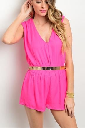 Hot Pink Gold Romper