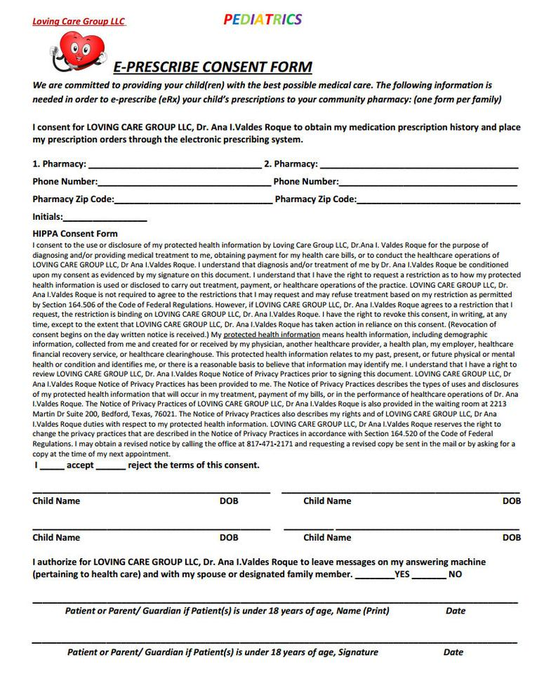 E-Prescribe Consent Form
