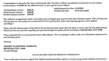 Payday Loan Settlement Letters – Good Faith Payment Letter
