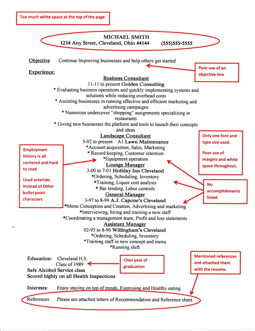 bad resume examples - Poor Resume Examples