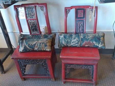 pair of chinese wooden side chairs with original polychrom decoration stepped crest carved three panel vertical splat paneled seat stretcher base pierced skirt circa 1800 antique