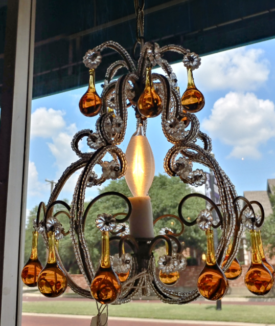 antique french crystal chandelier amber color and clear small petite light fixture for sale