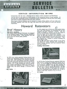 Howard Service Bulletin