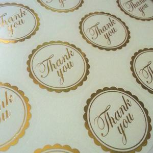 gold foil thank you sticker