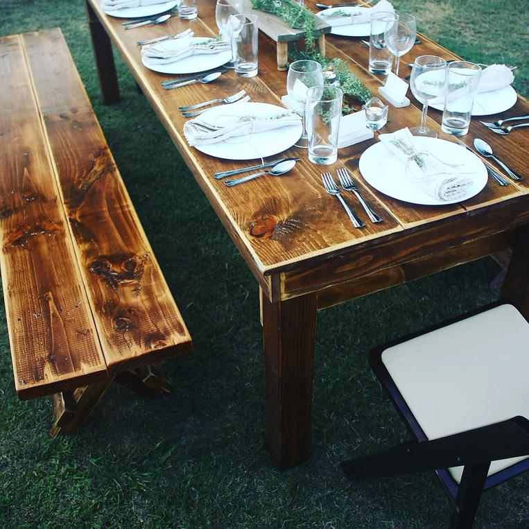 Rustic benches and chair rentals for weddings and parties