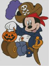 mickey mouse halloween pirate pumpkin lantern Childrens cross stitch charts and patterns