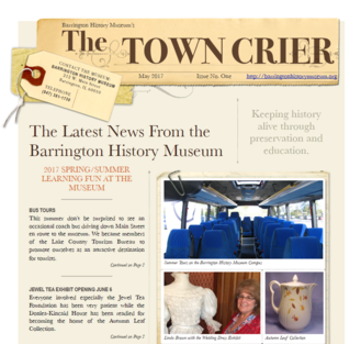Picture of the Spring/Summer 2017 Town Crier Newsletter by the Barrington History Museum