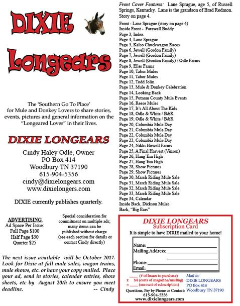 dixie longears, july 2017 index