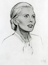 "JEAN SEBERG 35"" x 45"" oil crayon by CLIFF CARSON"