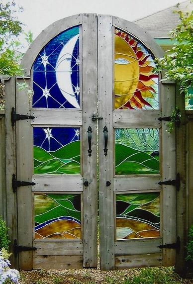"Stained Glass ""El Sol y La Luna Garden Gate by Randall Soileau"