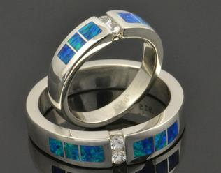 Lab Created Opal Wedding Ring Set with White Sapphires in Sterling Silver.