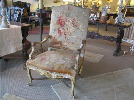 Italian, 18th century antique vintage polychrome gesso wood arm chair antique tapestry fabric