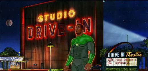 STUDIO DRIVE IN THEATRE with BOBBY HENDERSON as The Green Lantern (canvas oil painting combined with digital art by CLIFF CARSON)