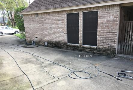 exterior house washing brick in Jersey Village Texas after