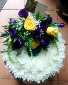 Yellow Rose and Lisianthus Funeral Wreath | Funeral Wreath | The Little Flowershop