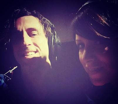 "Wendy Lands and Duff in the studio recording ""The Skye Boat Song"""