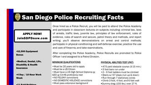 San Diego Police recruiting flyer