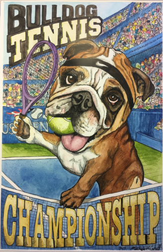 Pet Portrait Bulldog Tennis