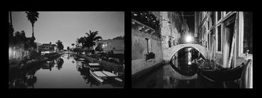diptych comparison of venice italy to venice, ca