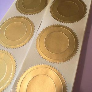 gold embossed sticker