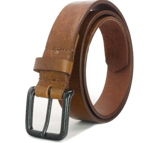 The Specialist Brown Belt - trendy brown leather strap with carbon fiber buckle is 100% metal free