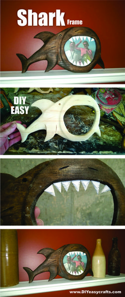 How to make a hand carved shark picture frame. Check out all of our nautical DIY craft ideas. www.DIYeasycrafts.com