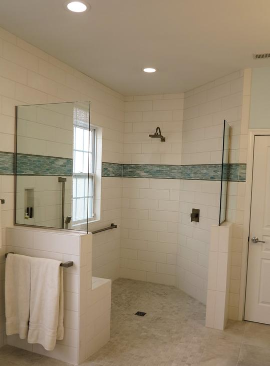 Curbless Shower Stall And Stylish Grab Bars In Master Bathroom Quality Design Construction