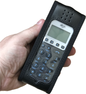 DE1-PSLA DECT Handset in bespoke leather pouch