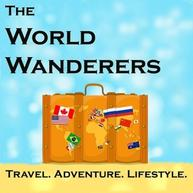 a brown briefcase with the continents of the world as pictures on the front. Link to podcast website logo