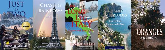 Image of the four travel books and fiction