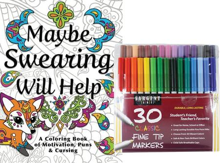 Maybe Swearing Will Help Sargent 30 Markers Adult Coloring Book