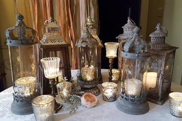 Italian Style Lanterns and Mercury Candles for Reception Decor MN