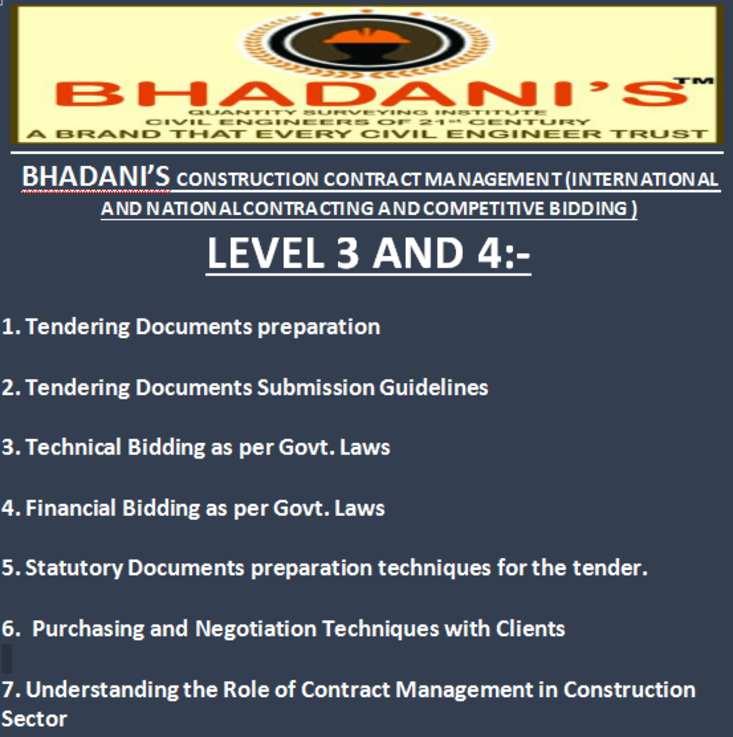 BHADANIS LEVEL 3 AND 4 TENDERING AND CONTRACT MANAGEMENT