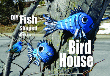 DIY Outdoor Paper Mache Nautical Fish Shaped Bird House. Check out our other Nautical and Beach Decor DIY projects. www.DIYeasycrafts.com