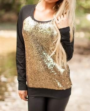 Black Gold Sequin Sweater