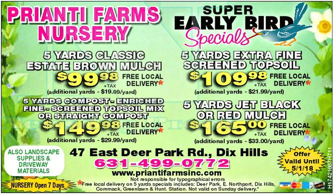 Prianti Firewood Mulch Soil Seasoned Special Sale Delivery Long Island