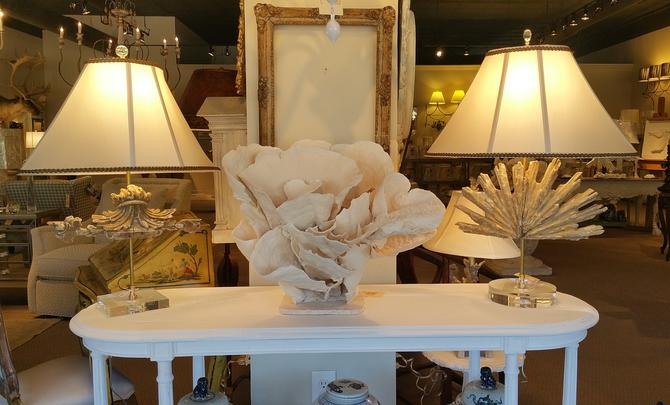 Antique vintage relic italian table lamps on lucite glass bases naturally large harvested coral antique frame