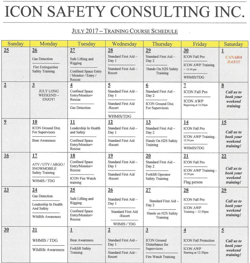 ICON Training Schedule | ICON SAFETY CONSULTING INC.®