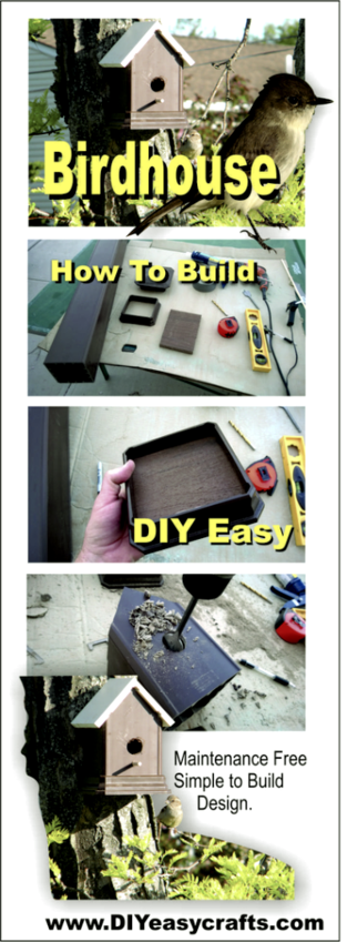 Step by step instruction on how to build a easy DIY Trex and PVC birdhouse. www.DIYeasycrafts.com