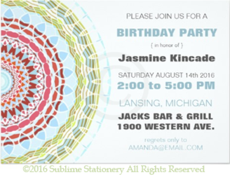 Elegant Mandala Birthday Party Invitations