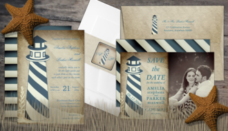 rustic nautical lighthouse wedding invitation suite collection