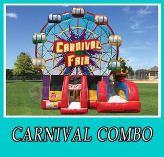 Carnival combo, bounce house, slide, carnival fair