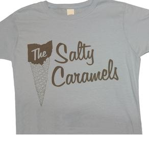 Salty Caramels lt blue w/grey print