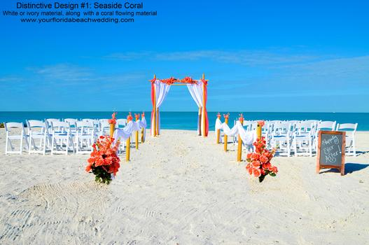 Coral Beach Wedding Ceremony in Sarasota, Florida