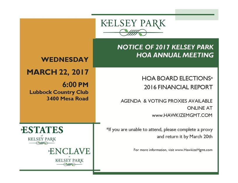 Kelsey Park Homeowners Association Bylaws