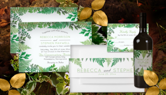 vintage ferns and greenery rain forest wedding invitation suite collection