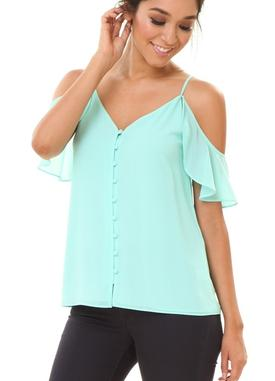 Powdered Sage Button Down Cold Shoulder Blouse